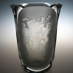 <strong>Žák Oldřich</strong> - <p>The vase with motive of three graces, the glass etched, sandblasted decoration, the body cut, signed Žák, around 1940. Height 22 cm.</p>