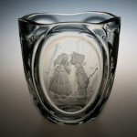 <strong>Jágr Miloslav</strong> - <p>The vase, engraved motive of children in medallion. Initials MJ, height 17 cm.</p>