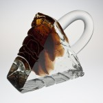 <strong>Ježek Pavel</strong> - <p>Glass sculpture formed at glass works, crystal, topaz, second half of the seventies. Signed Pavel Ježek. Total length the curve included 320mm.</p>