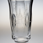 <strong>Žák Oldřich</strong> - <p>This cut vase of colourless molten glass was donated to the town of Zilina by Zelezny Brod legionnaires. On the vase is depicted a&nbsp;slightly matt,  polished and engraved Zilina panorama with the historical bell tower in Zelezny Brod below it. Engraved writing with the following text: Dedicated by  the C.S.O.L., association 1. to the volunteers of Zelezny Brod in Slovakia from 1918-1919. Zilina town 14/VIII 1948, signed Zak, height 25 cm.</p>