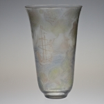 "<strong>Janků Miloslav</strong> - <p>A vase entitled ""The Sea World"", made M. Janku during his time at the Zelezny Brod School of Glass in 1946. Transparent glass, etched and glazed motif of the sea with a&nbsp;sailing boat and sea creatures. Labelled SS 63/46, height 20 cm.</p>"